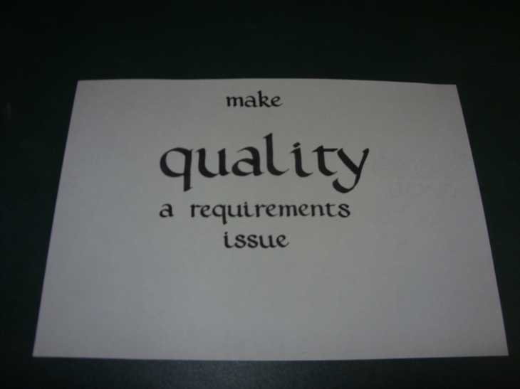Make quality a requirements issue